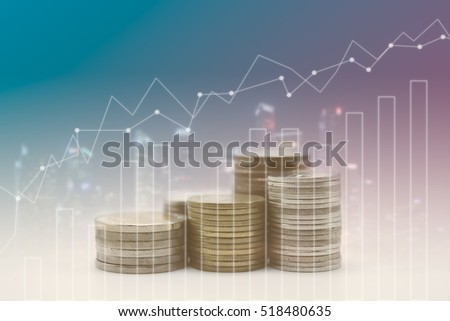 rows of coins for finance and banking concept with Forex graph on the business background. A metaphor of international financial consulting