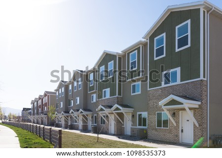Rows of cookie cutter townhouses