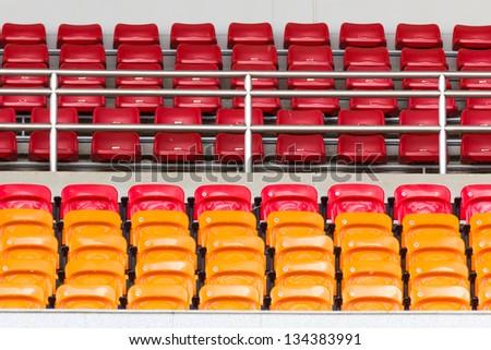 Rows of empty seat in stadium at National stadium Thailand.