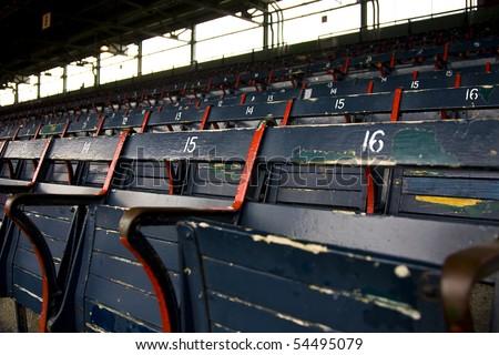 Rows of empty seats in a ballfield