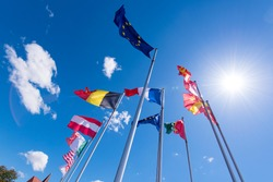 Rows of European flags and flags of the World countries