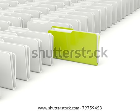 Rows of folders with different green folder