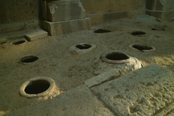 Rows of Jars Set in the Floor as Book Depository and Sometimes the Food Storage in Haghpat Monastery, Lori Province, Archaeological site in Armenia