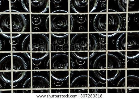 Rows of many empty wine bottles in winery cellar