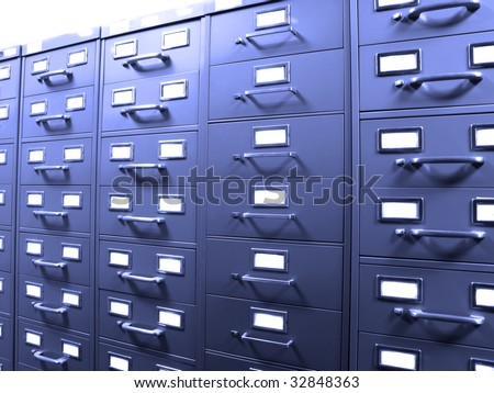 Rows of metal business filing cabinets with handles and lables - stock photo