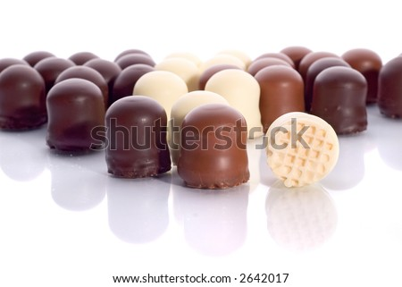 Rows of Mousse Chocolate Candies