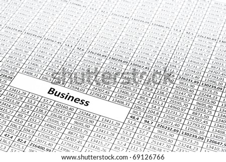 Rows of numbers. Focus in center (on word business)
