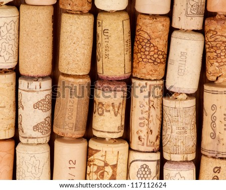 Rows of Old Used Wine Corks closeup