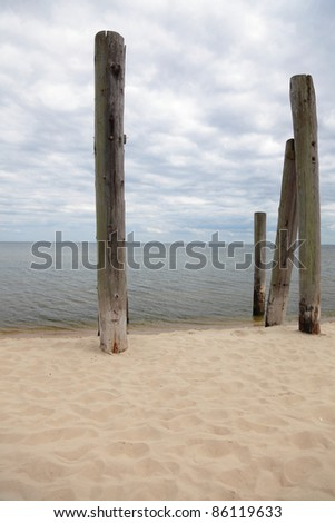 rows of piles on the sea beach - outdoor
