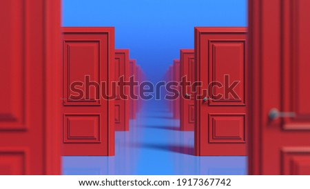Rows of red wooden closed doors on a blue background. There are many ways to choose. Decision making concepts, different possibilities. Choice, business and success concept. Soft focus. 3d render Foto stock ©