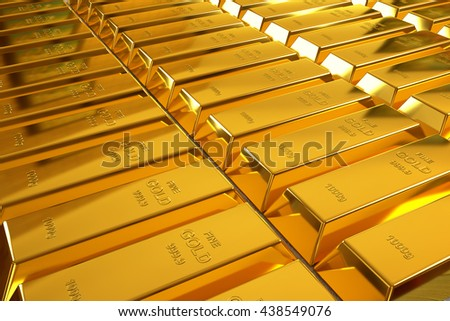 rows of rendered gold bars in a perspective view, 3d rendering #438549076