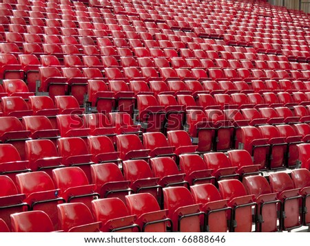 Rows of seats at a stadium