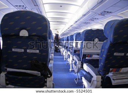 rows of seats in airplane