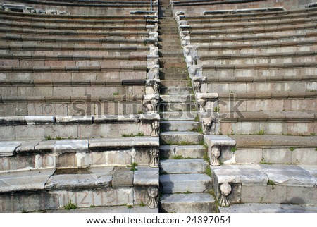 Rows of seats in theater in Asklepion, Bergama, Turkey