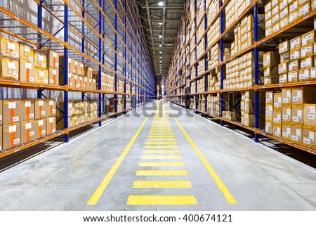 Rows of shelves with boxes  #400674121