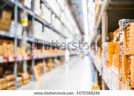 Rows of shelves with goods boxes in modern industry warehouse store at factory warehouse storage, Shelves and racks in distribution storage warehouse interior. interior of warehouse.