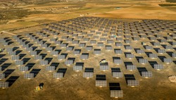 Rows of solar panels in rural Spain producing plenty of electricity even in the winter