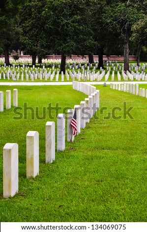 rows of soldiers tombstones on a national cemetery
