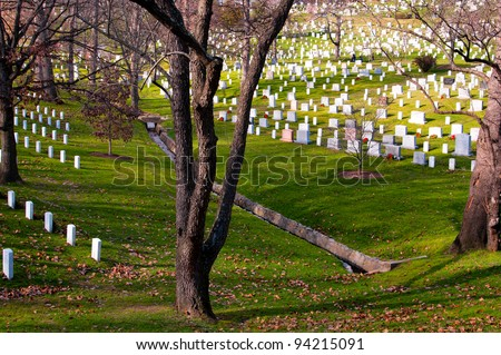 Rows of white gravestones in Arlington National Cemetery, Virginia, U.S.A