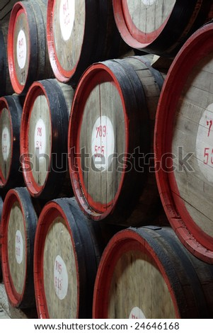Rows of wine and cognac barrels