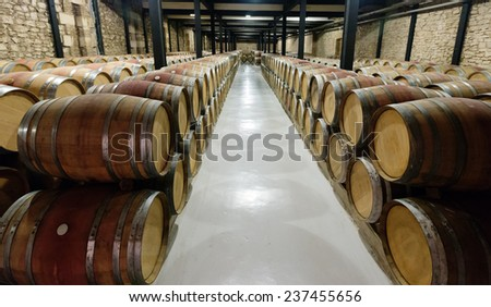 Rows with many  barrels in  winery factory