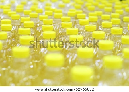 Rows with oil bottles