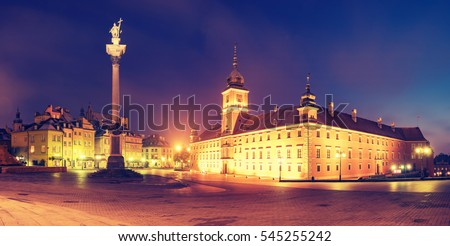 Royal Castle and Sigismund's Column in Warsaw old town,retro colors, vintage #545255242