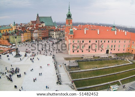 Royal castle seen from the top of viewing terrace at Warsaw's old town. King's Zygmunt square.