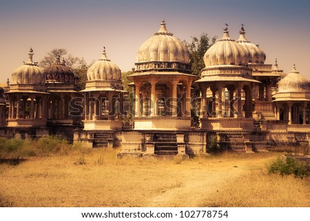 Royal Cemetery in Udaipur in India