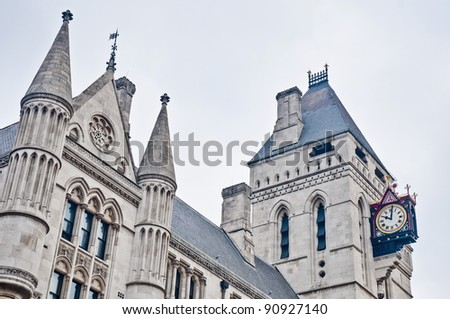 Royal Courts of Justice building at London, England