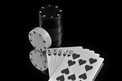 Royal Flush.  A monochromatic depiction of a Royal Flush of Hearts with Poker chips on a mirrored background.