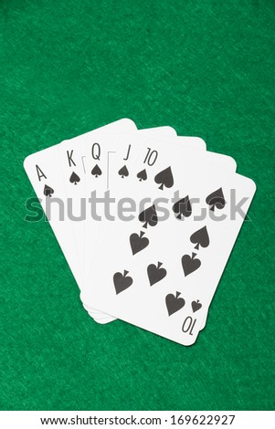 royal flush combination at poker on the green casino table