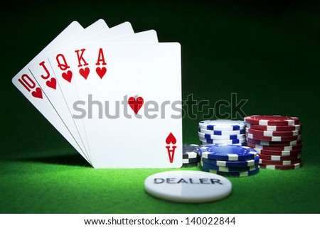 Royal Flush Hearts. Gambling concept