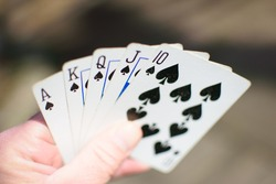 Royal Flush in Spades Poker Hand