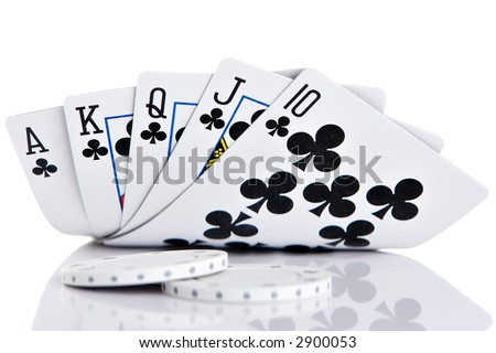 Royal Flush of clubs on white background