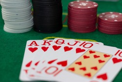 Royal flush of five cards in the casino, Royal flush is the largest combination in poker