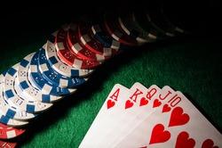 royal flush on poker table