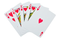 royal flush playing cards isolated on white background