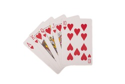 Royal flush. Playing cards isolated on  white background