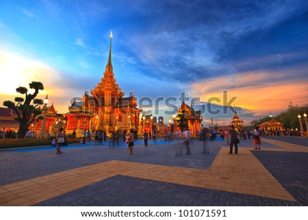 Royal funeral pyre of princess at sunset time