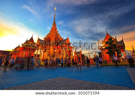 Royal funeral pyre of princess at sunset time - stock photo