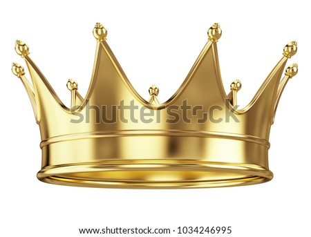 Royal gold crown isolated on white. 3d rendering