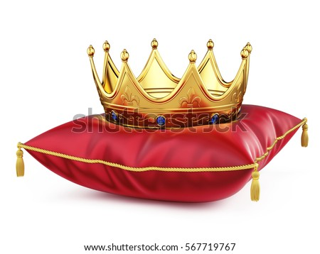 Royal gold crown on red pillow isolated on white. 3d rendering.