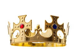 Royal gold, regal attire and royalty concept theme with a king s golden crown isolated on white background with a clip path cut out