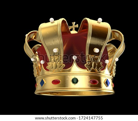 Royal Golden Crown with Gems and pearls