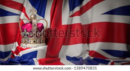 Royal golden crown with jewels on british  flag. Symbols of UK United Kingdom. 3d illustration Сток-фото ©
