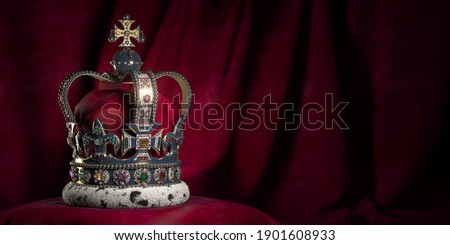 Royal golden crown with jewels on pillow on pink red background. Symbols of UK United Kingdom monarchy. 3d illustration Сток-фото ©