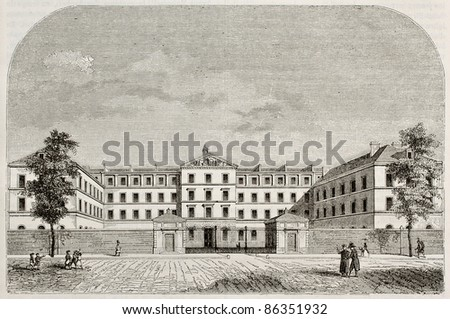 Royal Institution for blind youth building in Paris. By unidentified author, published on Magasin Pittoresque, Paris, 1843