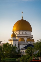 Royal Klang dome mosque with clear cly.