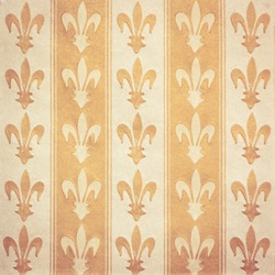 Royal lily (fleur-de-lis) pattern orange and yellow vintage background